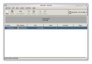 Gparted blank disk